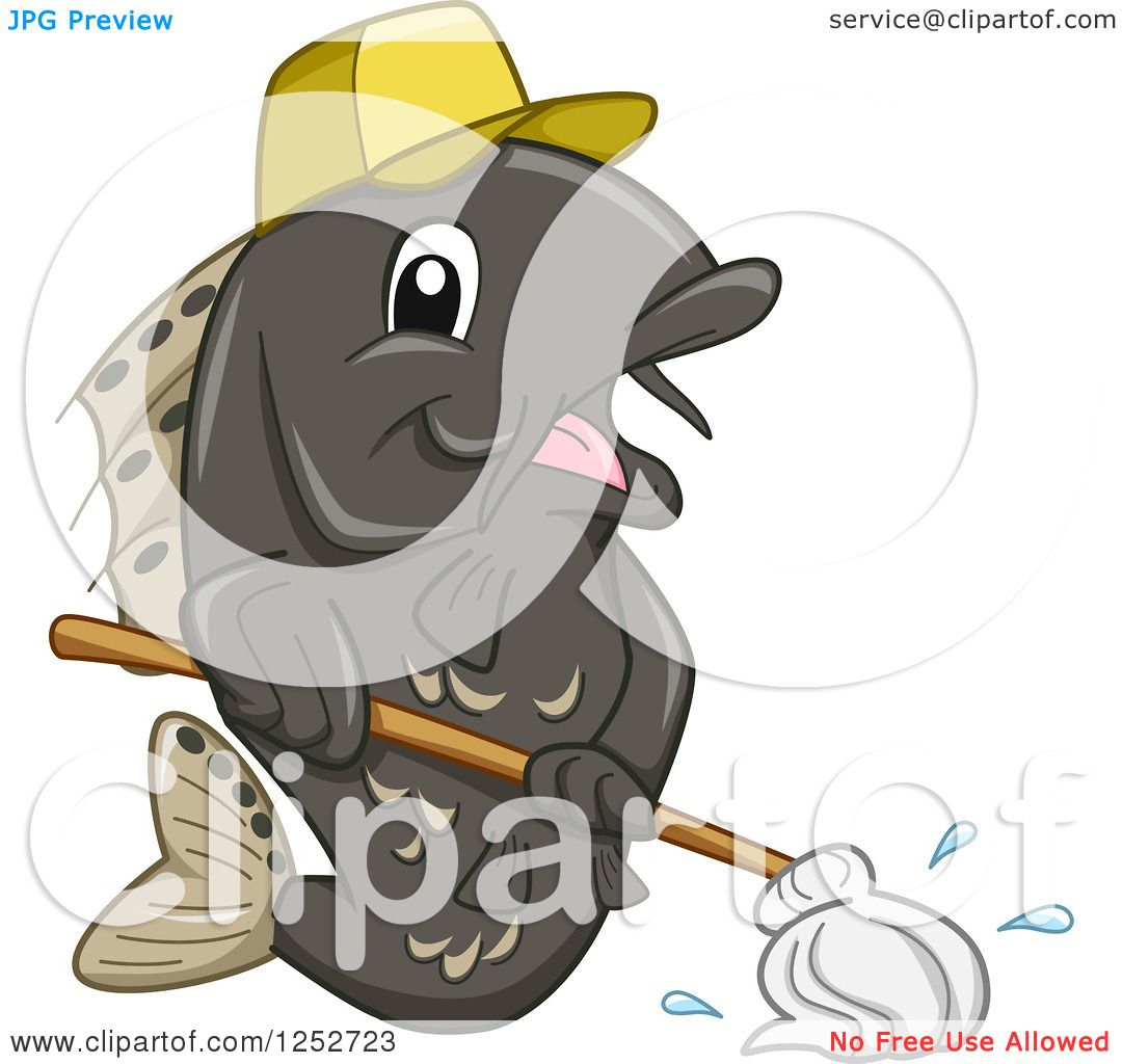 clipart of a janitor fish mopping royalty vector clipart of a janitor fish mopping royalty vector illustration by bnp design studio