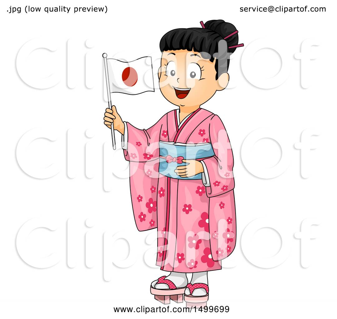 Clipart of a Japanese Girl Wearing a Kimono and Holding a Flag ...