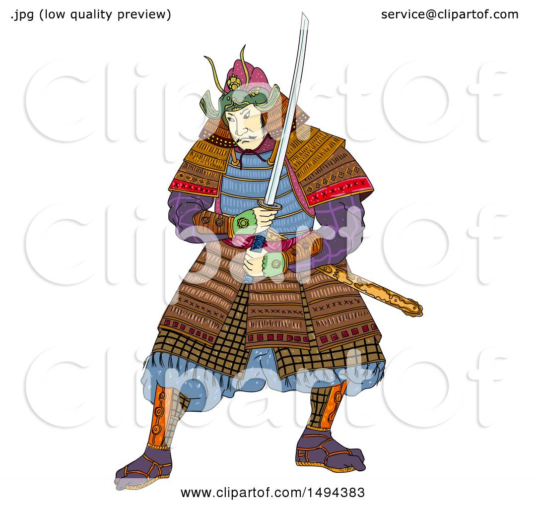 Clipart of a Japanese Samurai Warrior
