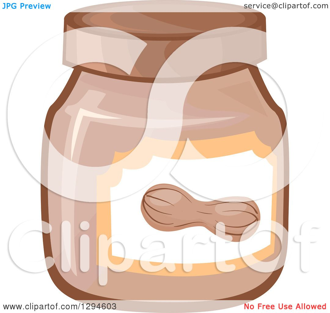 Clipart of a Jar of Peanut Butter - Royalty Free Vector ...