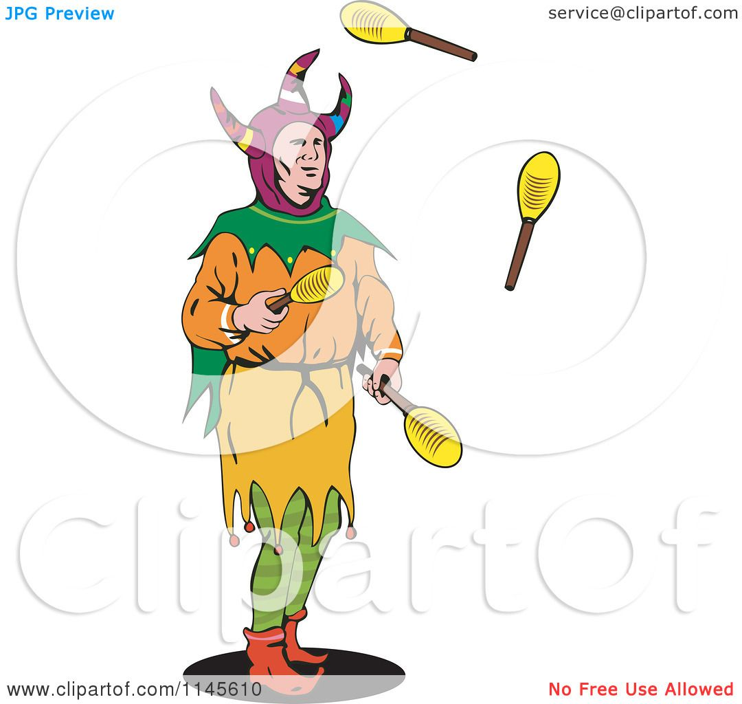 0afbebd95a Clipart of a Jester Juggling Paddles - Royalty Free Vector Illustration by  patrimonio