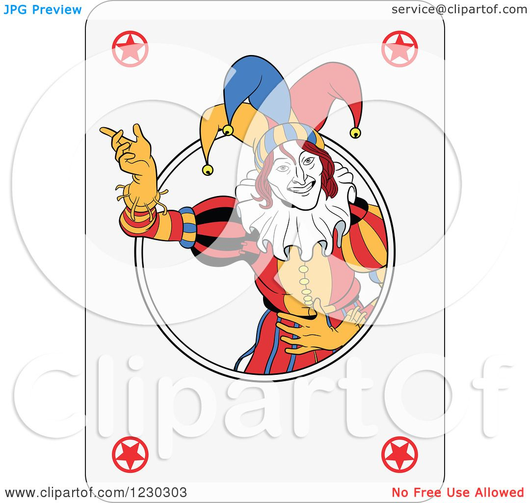 Clipart of a Joker Playing Card Royalty Free Vector