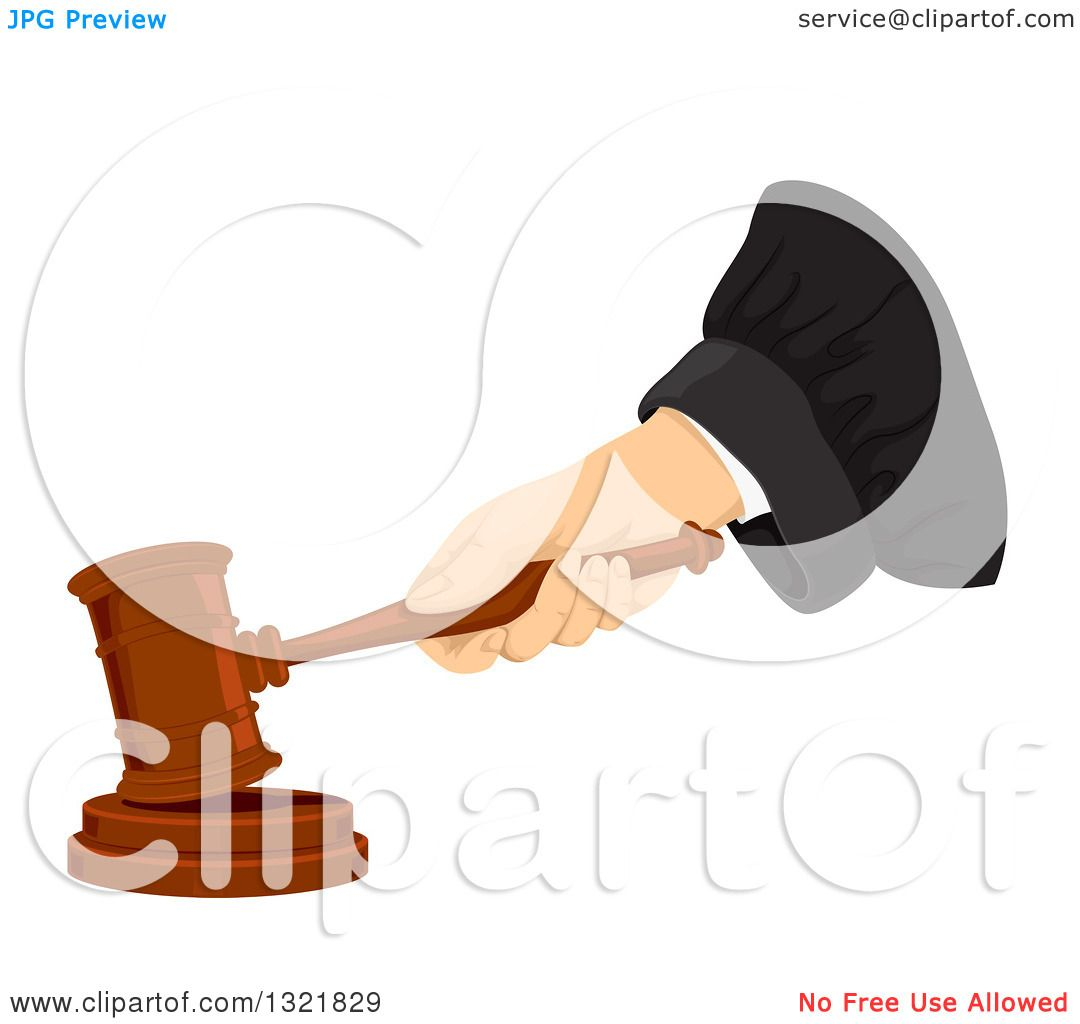 Clipart of a Judge's Hand Banging a Gavel - Royalty Free Vector ...