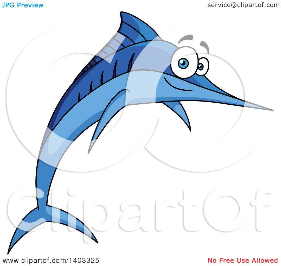 Clipart of a jumping cartoon marlin swordfish royalty for Free clipart animations