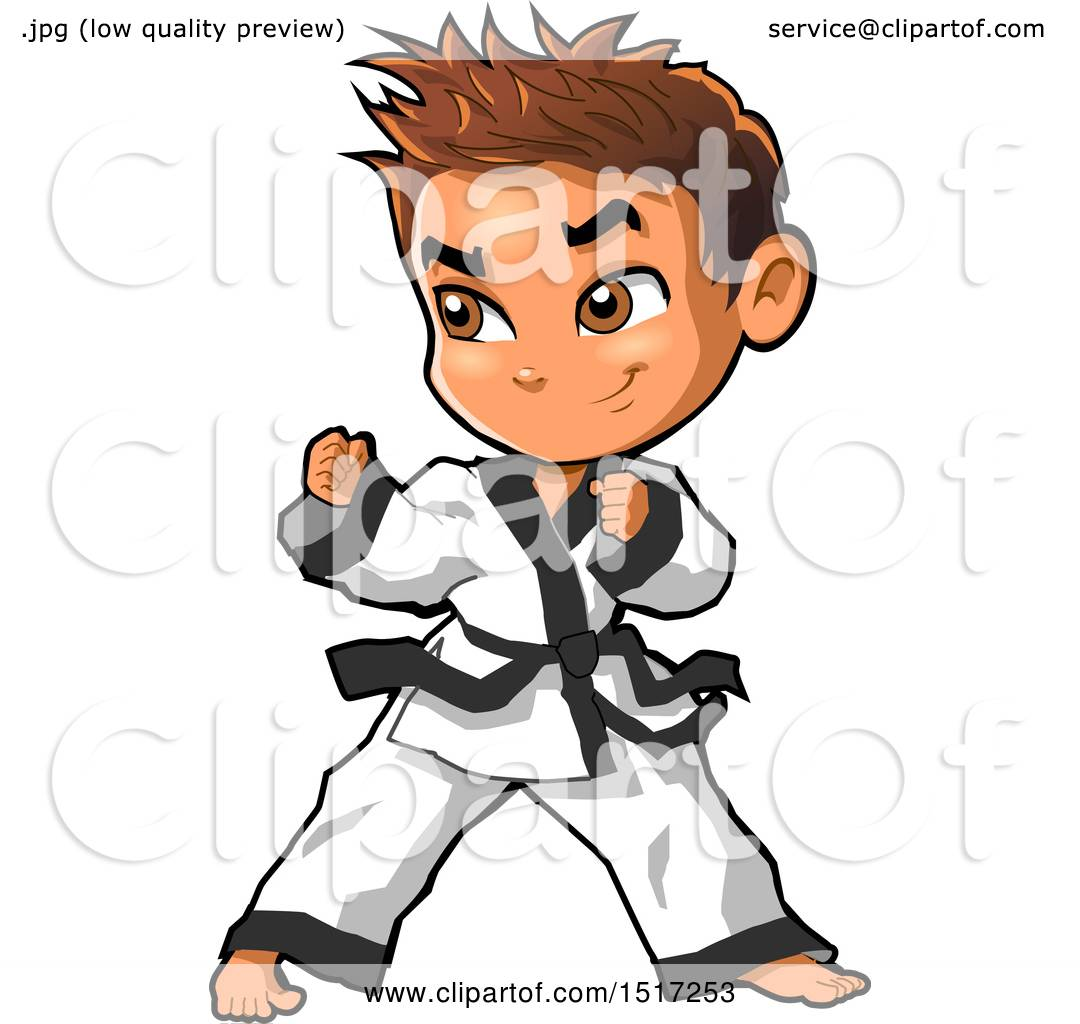 clipart of a karate boy in a fighting stance royalty free vector rh clipartof com karate clipart free karate clip art images