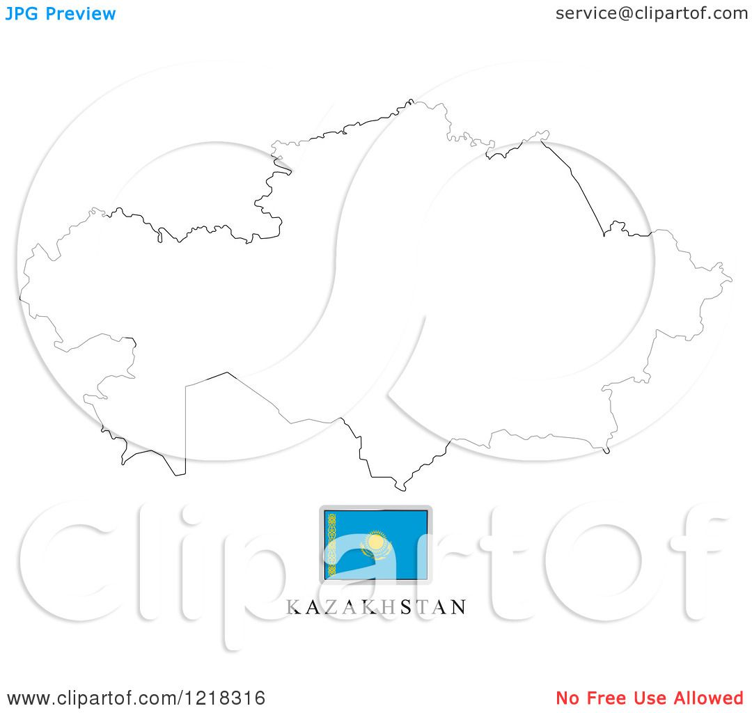Clipart of a Kazakhstan Flag and Map Outline - Royalty ...
