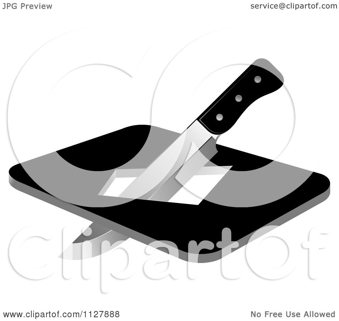 Clipart Of A Kitchen Knife And Board With A Hole - Royalty Free ...