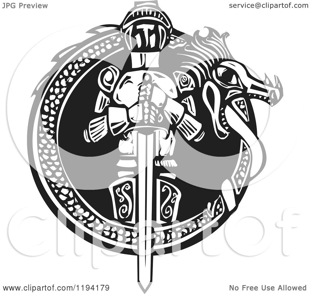 Clipart of a Knight in a Dragon Frame Black and White Woodcut ...