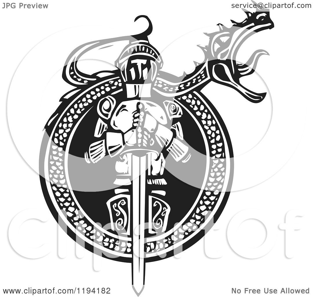 clipart of a knight in a roaring dragon frame black and white woodcut royalty free vector illustration by xunantunich - Dragon Frame