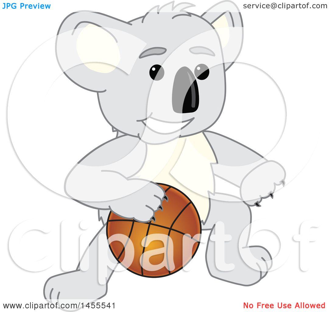 clipart of a koala bear mascot character dribbling a