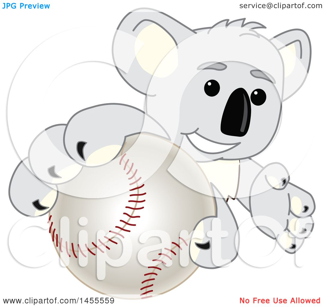 clipart of a koala bear mascot character grabbing a