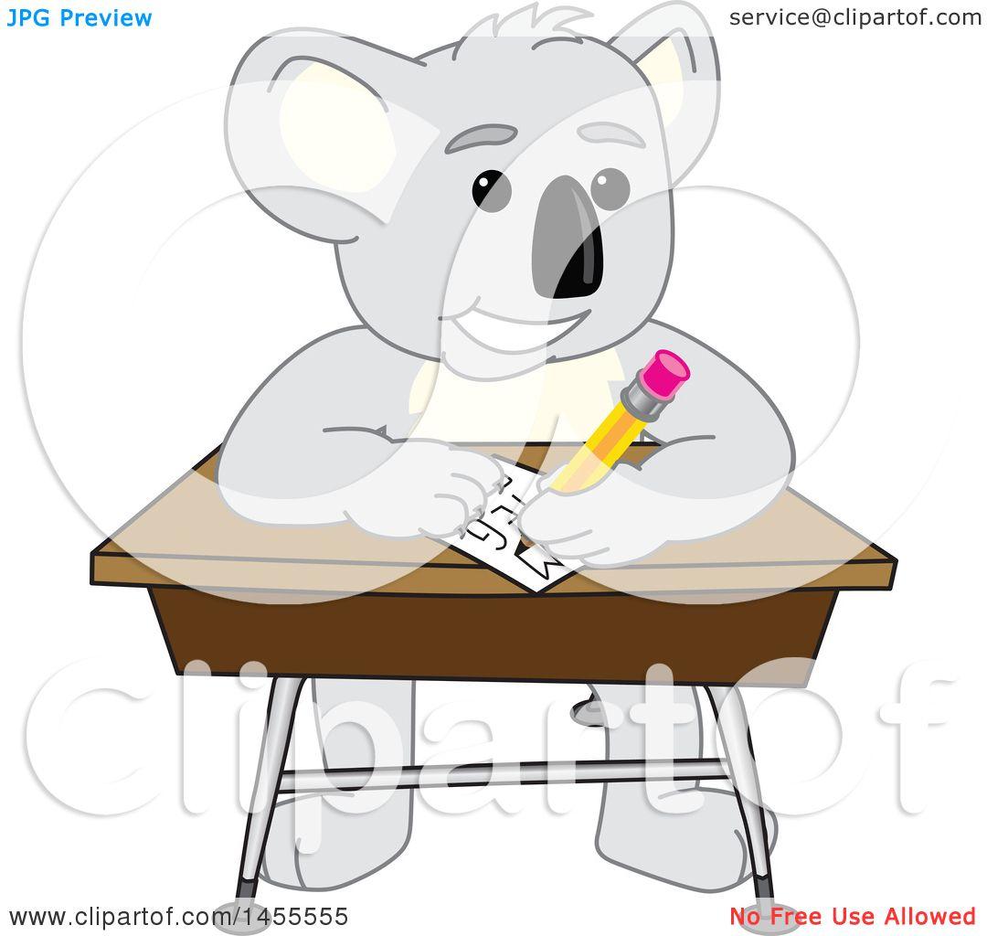 clipart of a koala bear school mascot character student writing at a rh clipartof com Reading Clip Art Kiss Clip Art