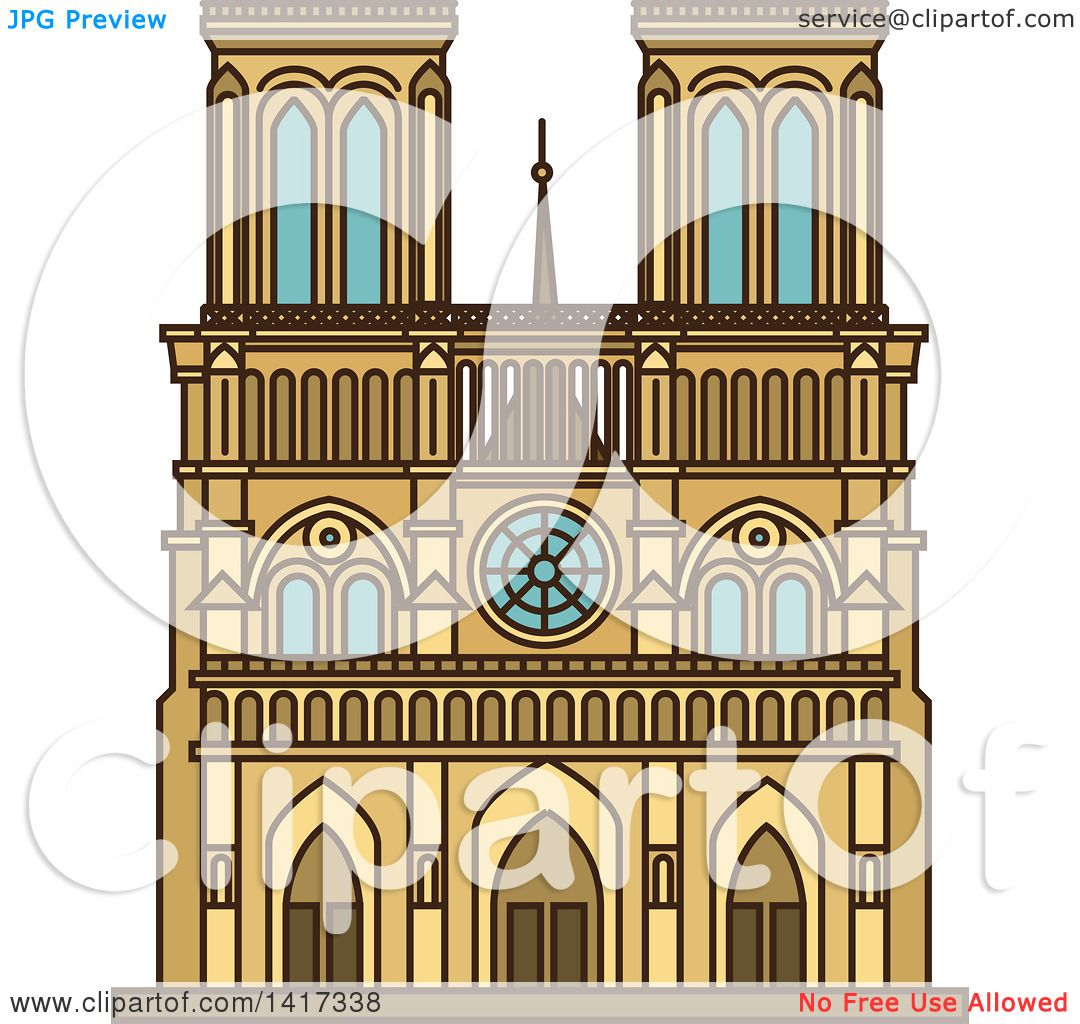Clipart of a Landmark, Notre Dame Cathedral - Royalty Free Vector ...