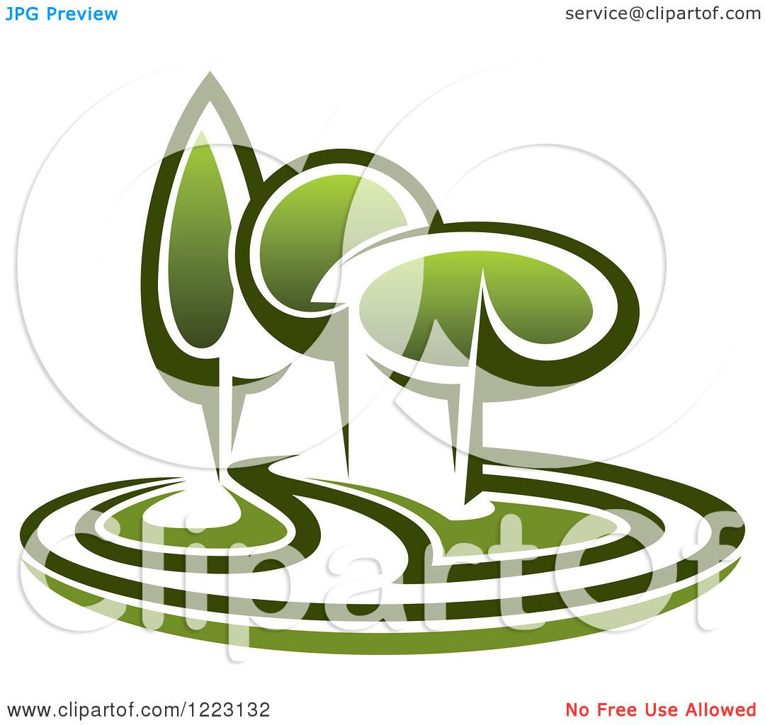Landscape Illustration Vector Free: Clipart Of A Landscape With Green Trees