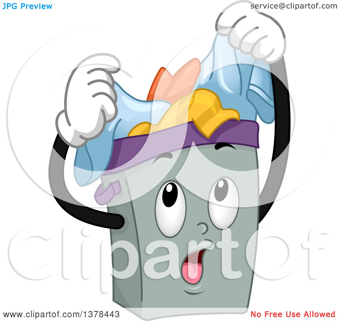 Clipart Of A Laundry Hamper Full Of Dirty Clothes