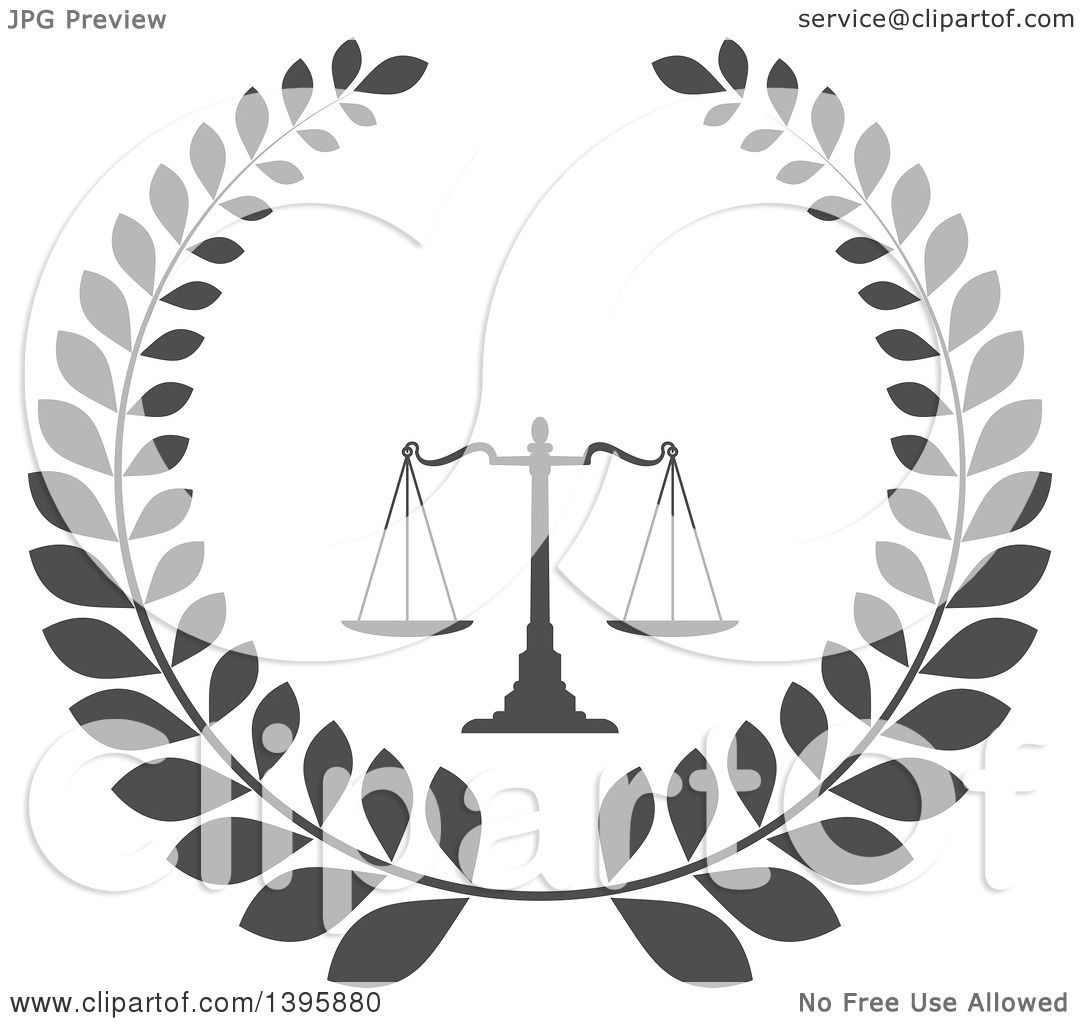 Clipart of a Laurel Wreath with Legal Gray Scales of Justice ...