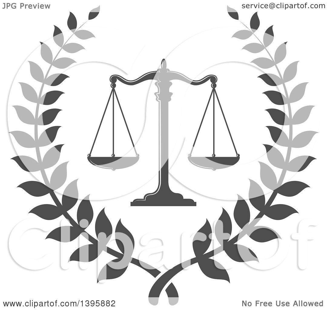 Clipart Of A Laurel Wreath With Legal Gray Scales Of