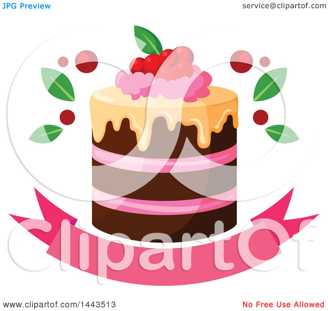 Free Clip Art Layer Cake : Clipart of a Layer Cake with Berries over a Banner ...