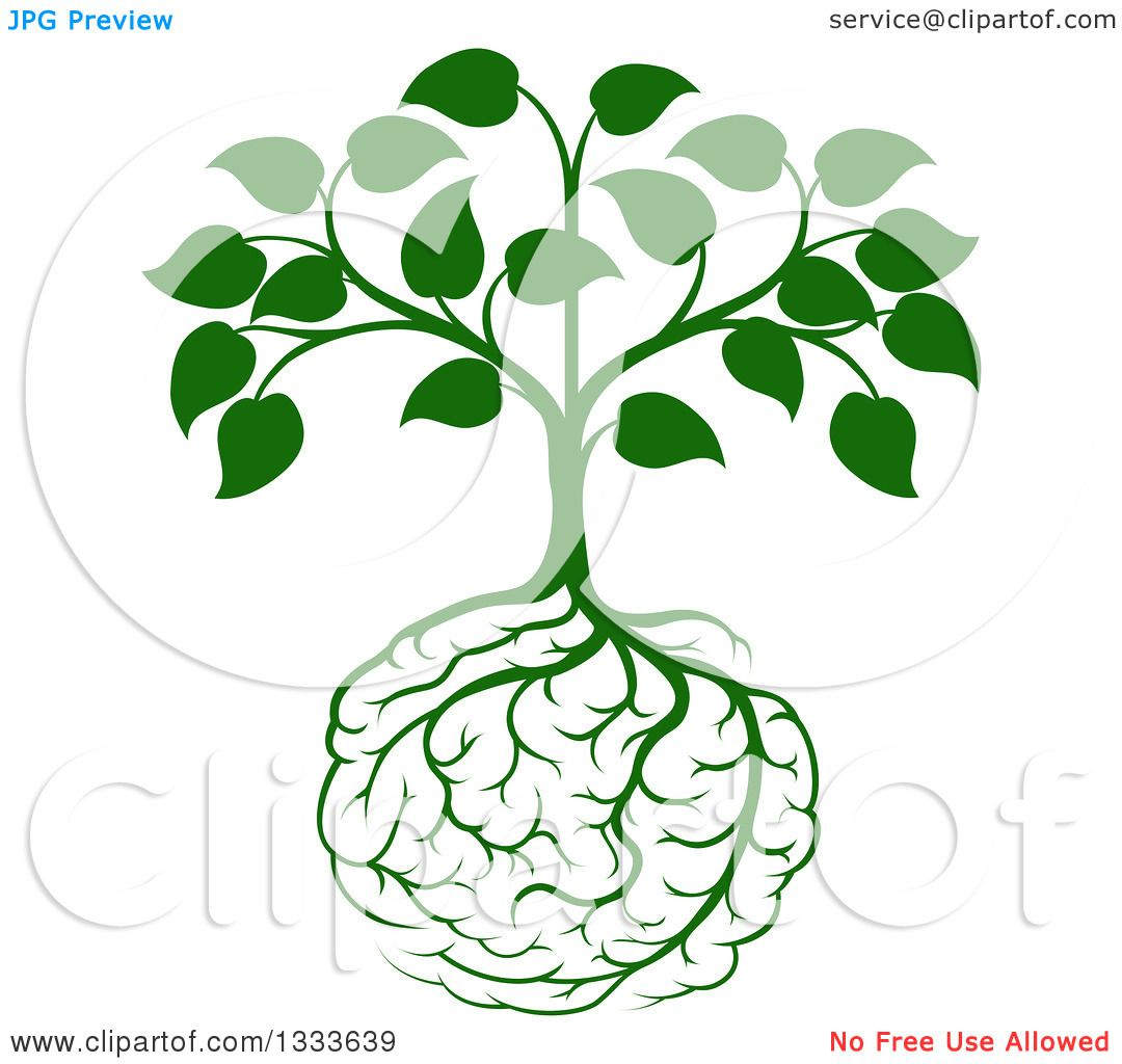 Clipart of a Leafy Green Heart Shaped Tree with Brain Roots ...