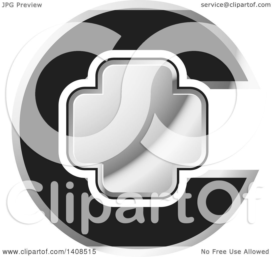 Clipart Of A Letter C And Silver Cross Design