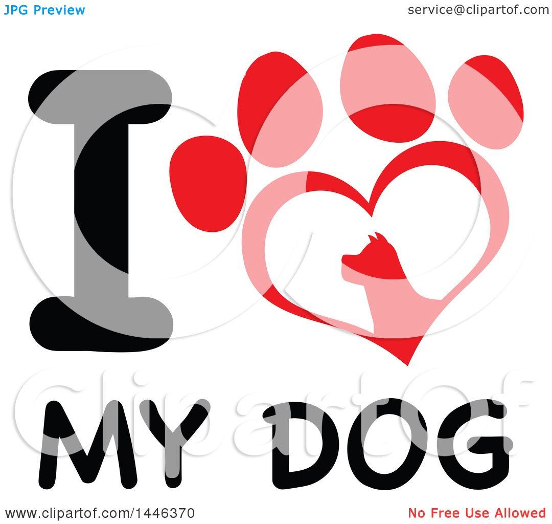 Clipart of a Letter I and Heart Shaped Dog Paw Print over