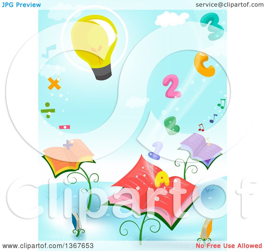 Clipart Of A Light Bulb Floating Over Letters Numbers Math Symbols