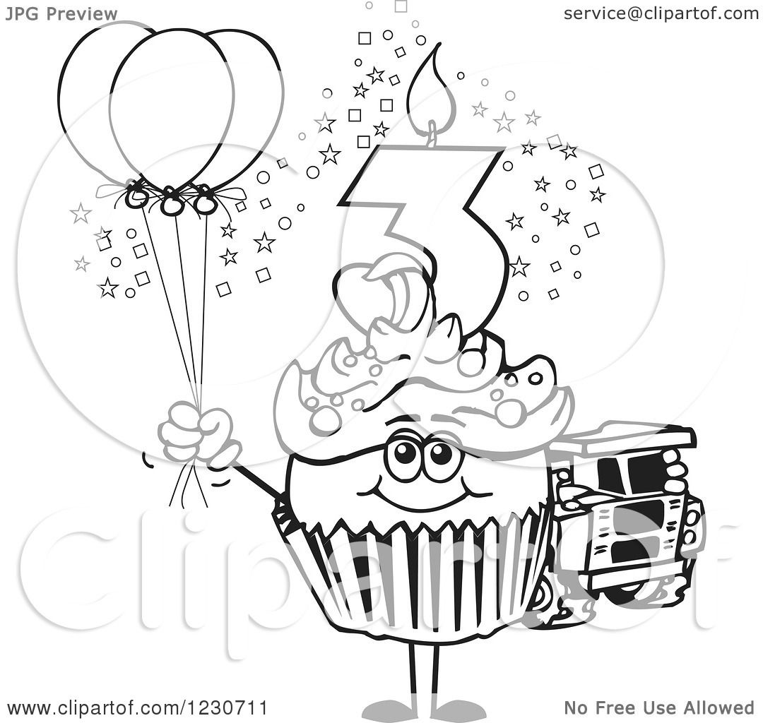 Birthday cupcake line drawing