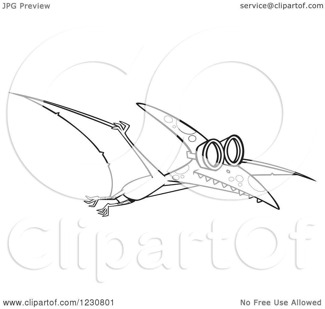 Line Art Cartoon : Clipart of a line art cartoon pterodactyl dinosaur flying
