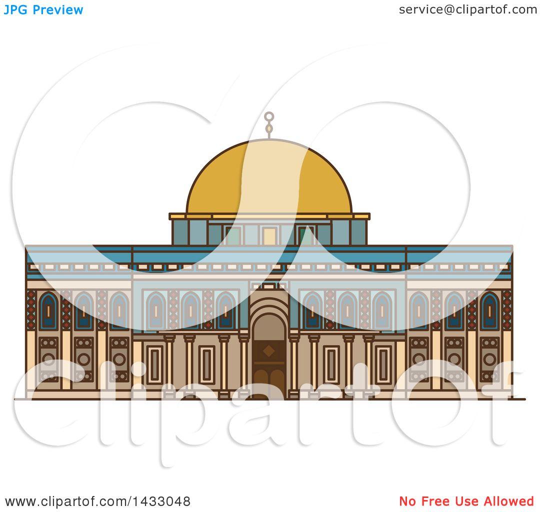 Line Drawing Jerusalem : Clipart of a line drawing styled israel landmark al aqsa