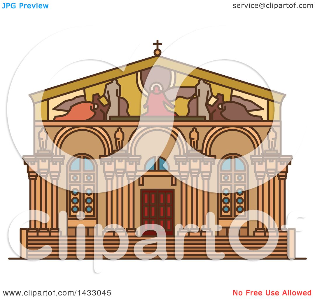 Line Drawing Jerusalem : Clipart of a line drawing styled israel landmark church