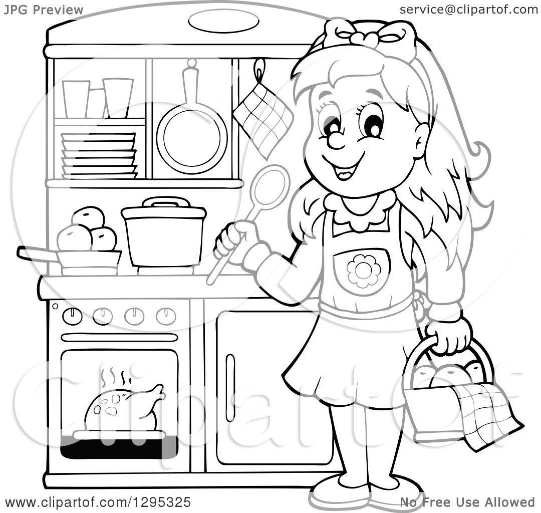 Clipart Of A Lineart Black And White Happy Girl Playing In