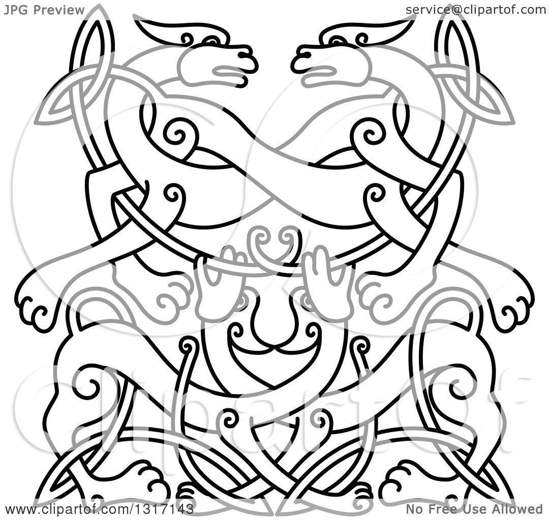 Clipart of a Lineart Celtic Knot Wolf or Dog Design - Royalty Free ...