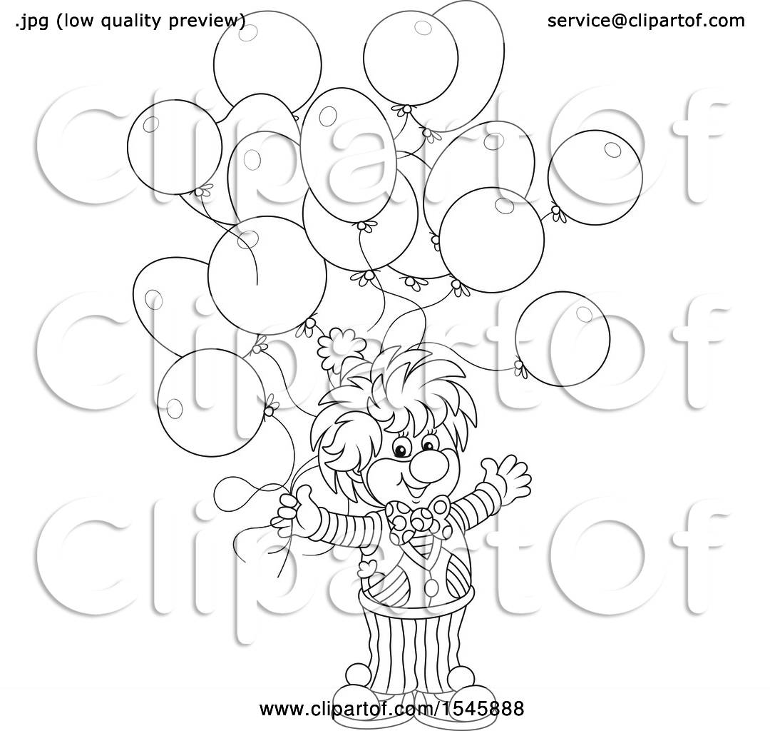 Clipart of a Lineart Clown with Birthday Party Balloons - Royalty ...