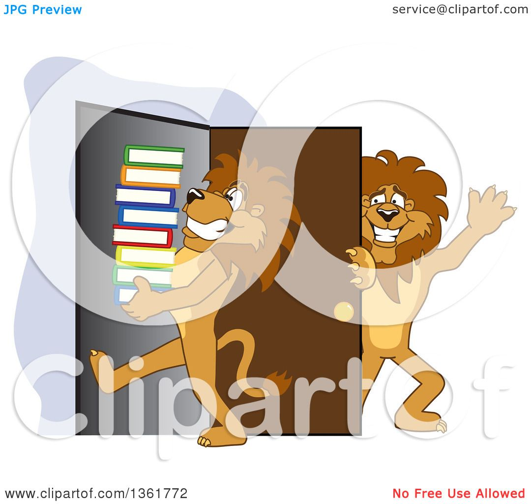 School door clipart - Clipart Of A Lion School Mascot Character Holding A Door Open For A Friend Carrying A Stack Of Books Symbolizing Compassion Royalty Free Vector