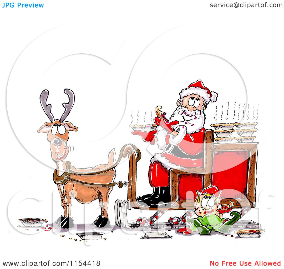 clipart of a lone reindeer with santa and an elf eating pies royalty free vector clipart by spanky art - Reindeer With Santa
