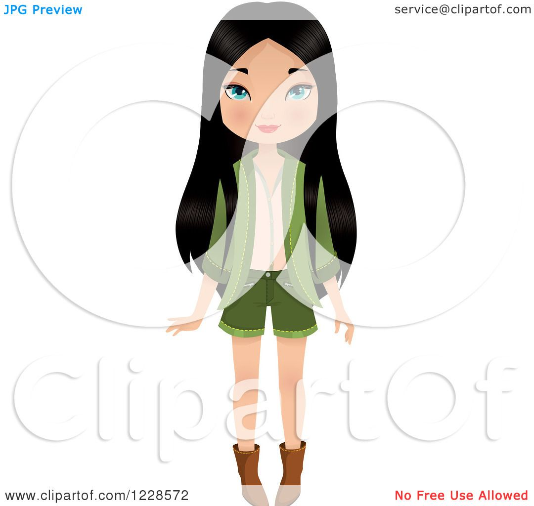 Clipart of a Long Haired Young Asian Woman in a Green Outfit ...