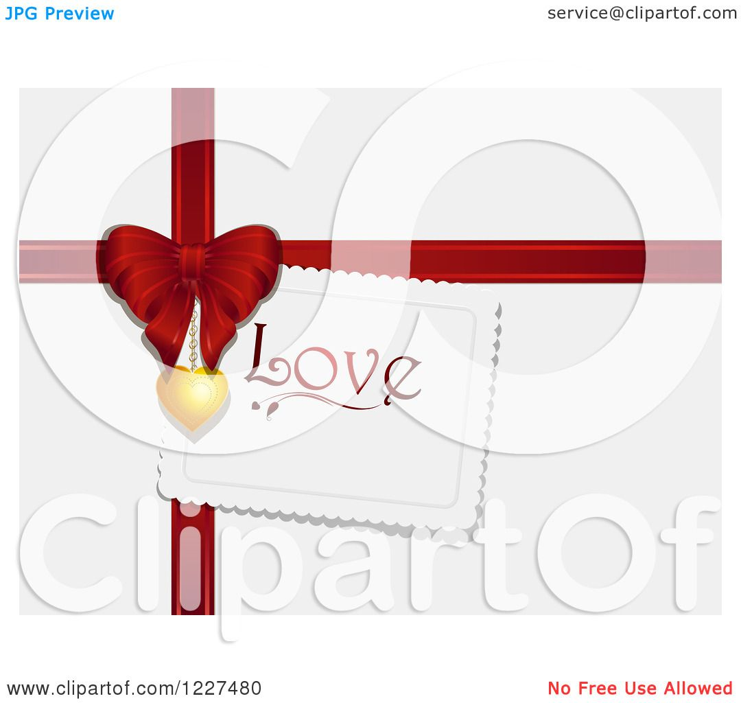 Clipart of a Love Tag with a Red Valentines Day Gift Bow and ...