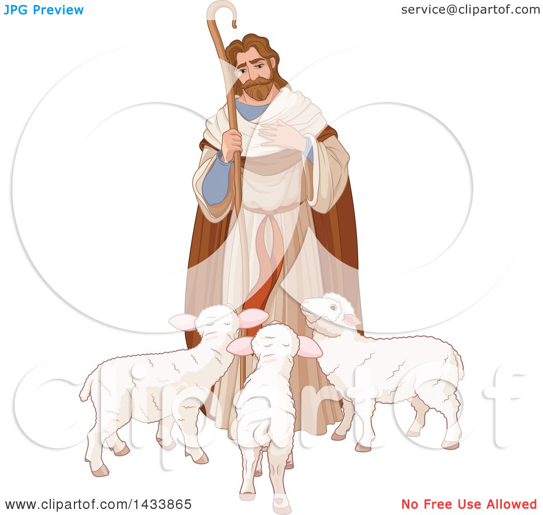 Clipart of a Loving Shepherd Looking down at Lambs - Royalty Free ...