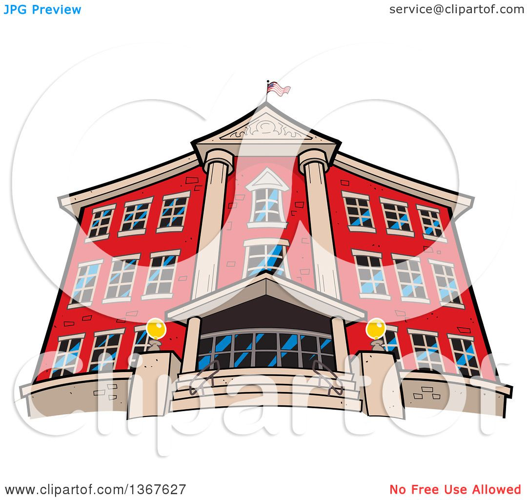 Clipart Of A Low Angle View The Front Red Brick School Building An American Flag On Roof