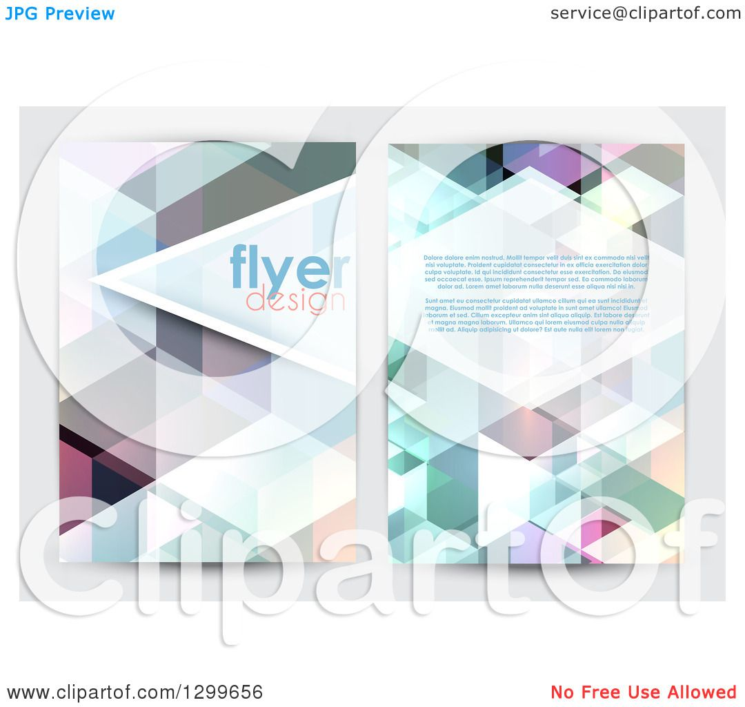 Clipart of a Low Poly Geometric Flyer Template Design with Sample – Geometric Flyer Template