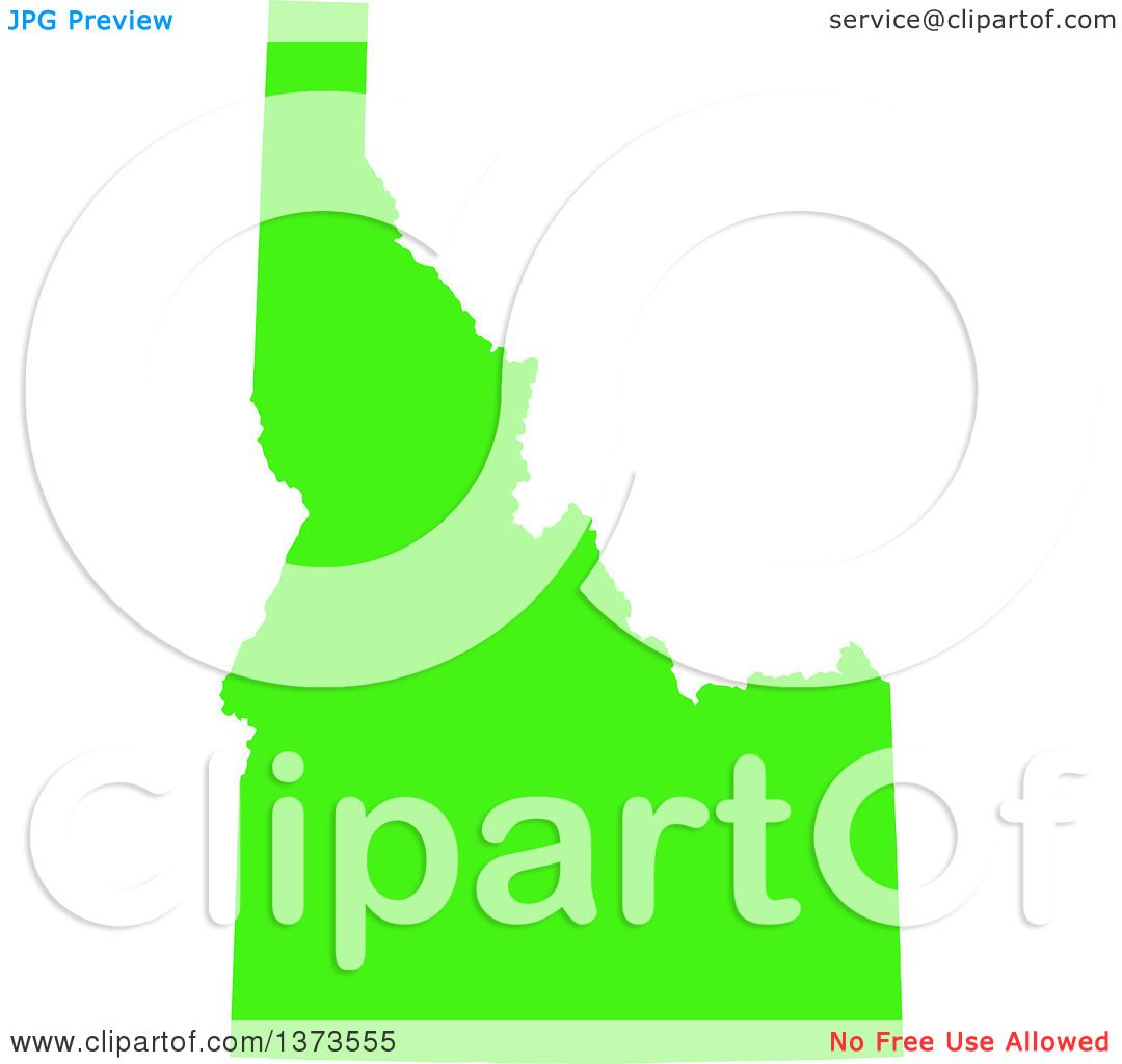 Clipart Of A Lyme Disease Awareness Lime Green Colored Silhouetted Map Of The State Of Idaho United States Royalty Free Vector Ilration By Jamers