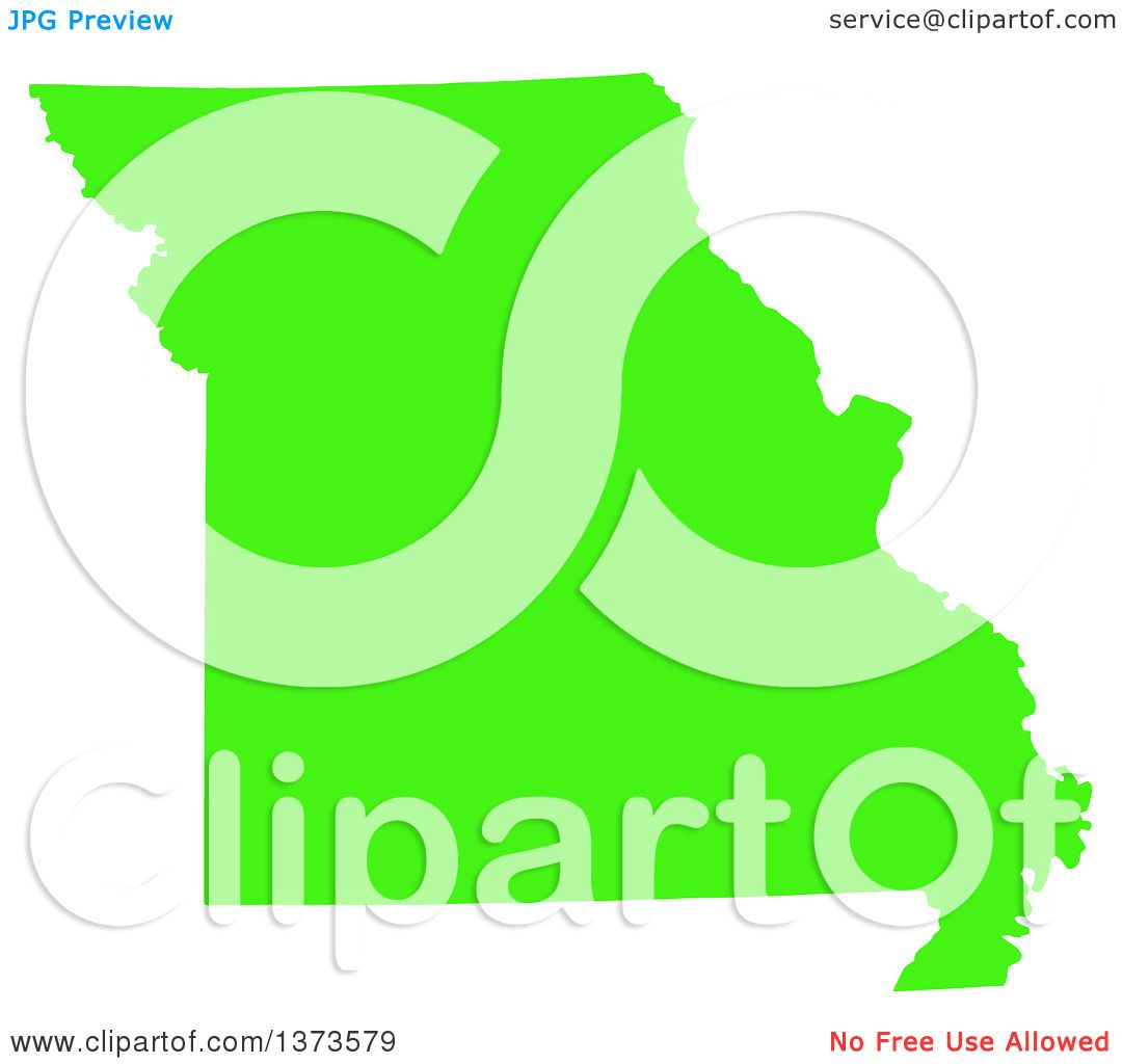 Clipart Of A Lyme Disease Awareness Lime Green Colored Silhouetted Map Of The State Of Missouri United States Royalty Free Vector Ilration By Jamers
