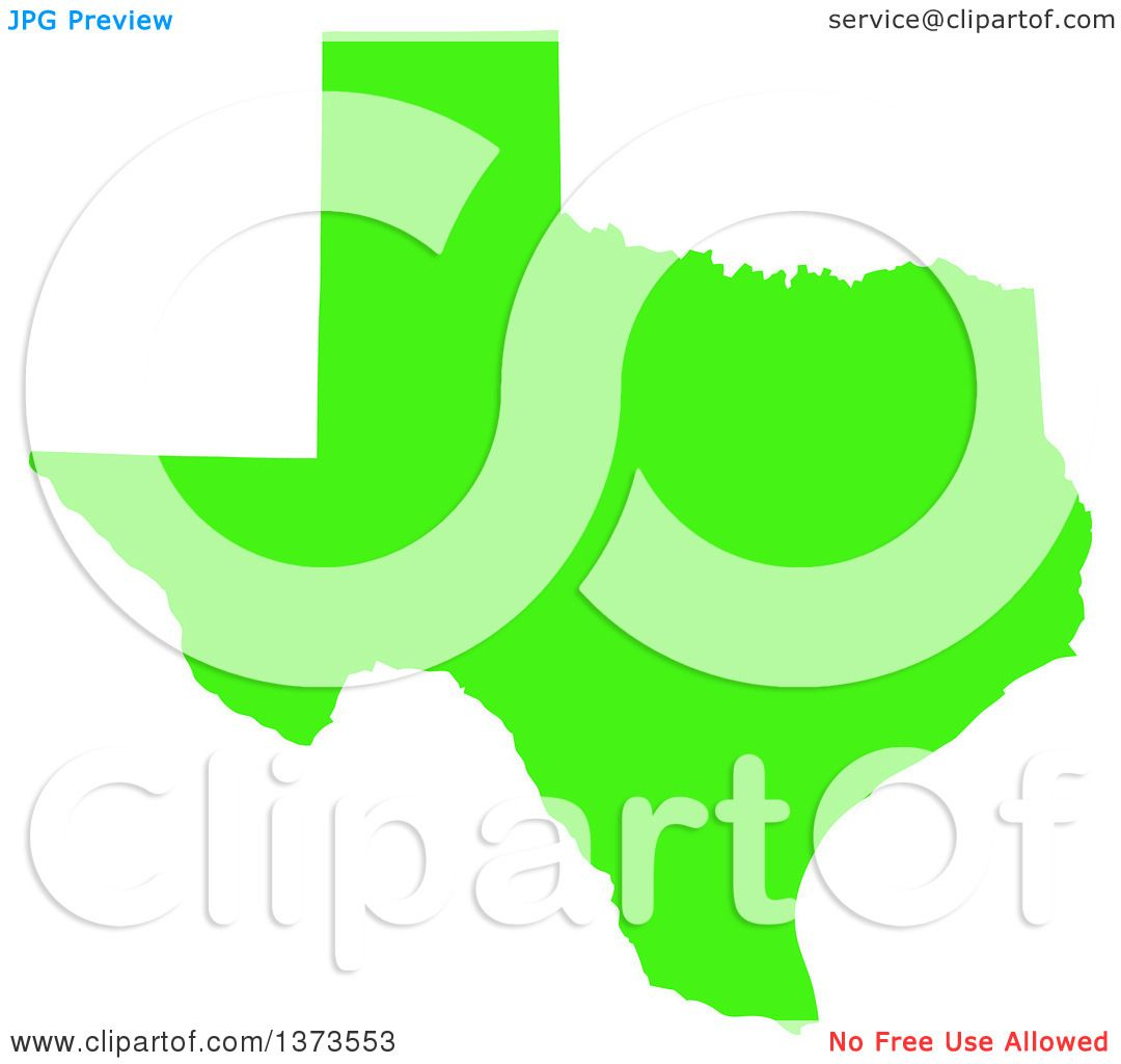 Clipart Of A Lyme Disease Awareness Lime Green Colored Silhouetted Map Of The State Of Texas United States Royalty Free Vector Ilration By Jamers