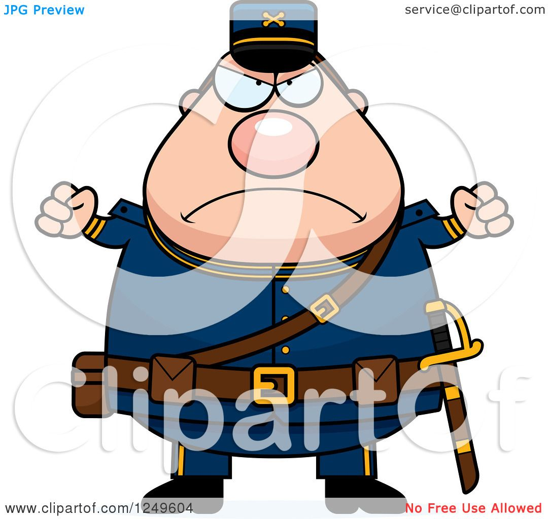 Clipart of a Mad Chubby Civil War Union Soldier Man with Balled ...