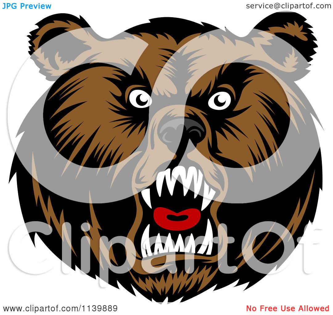 Clipart Of A Mad Grizzly Bear Head - Royalty Free Vector ...