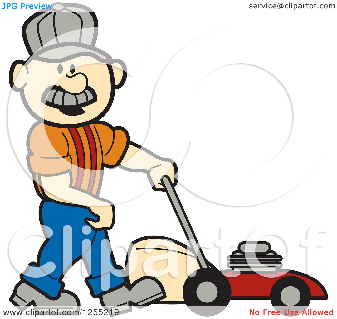 clipart of a male caucasian handyman with a lawn mower royalty rh clipartof com free handyman clipart free handyman clipart