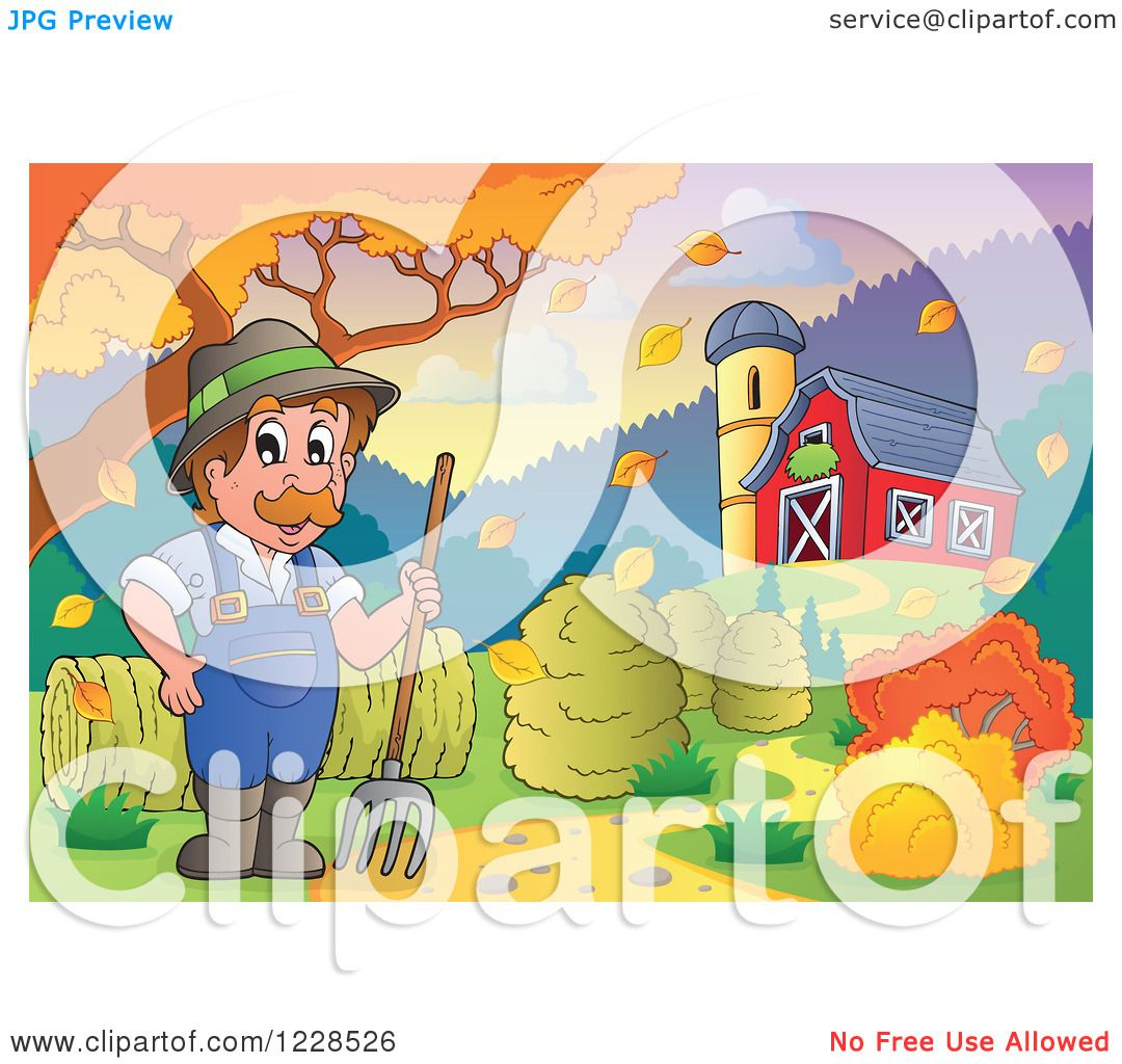 Clipart Of A Male Farmer With Pitchfork And Hay By Barn In Autumn