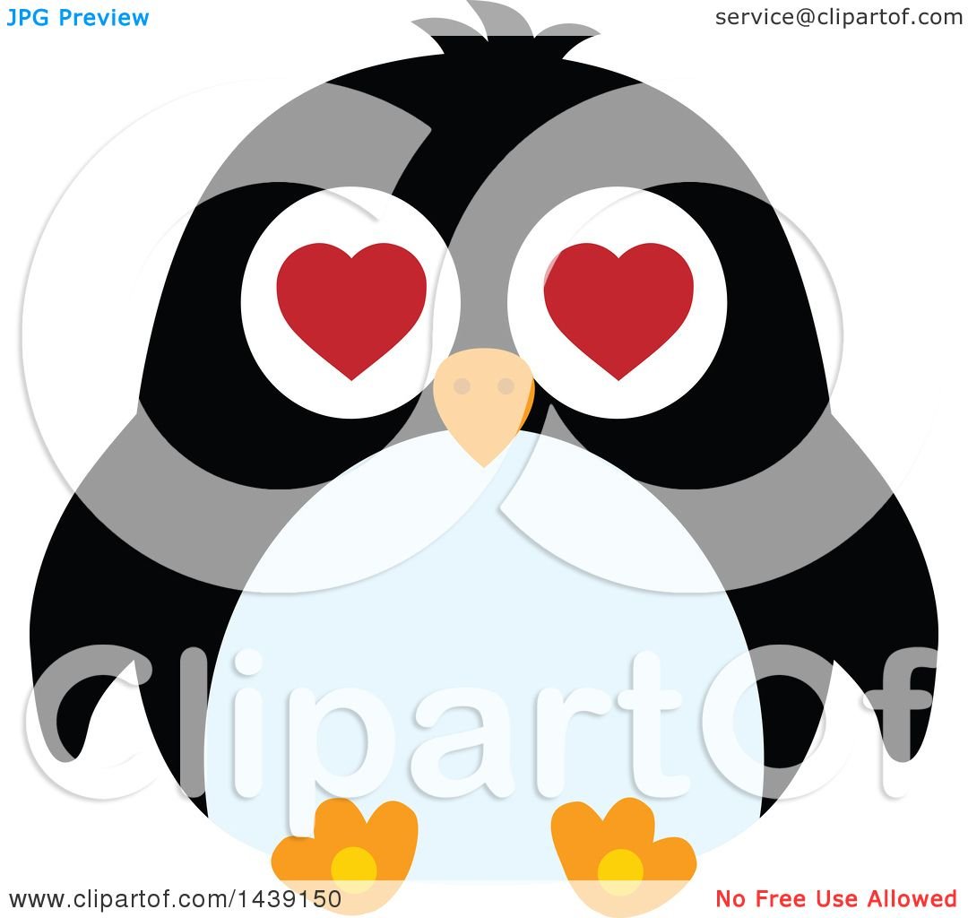 Clipart Of A Male Penguin Valentine Heart Eyes   Royalty Free Vector  Illustration By Visekart