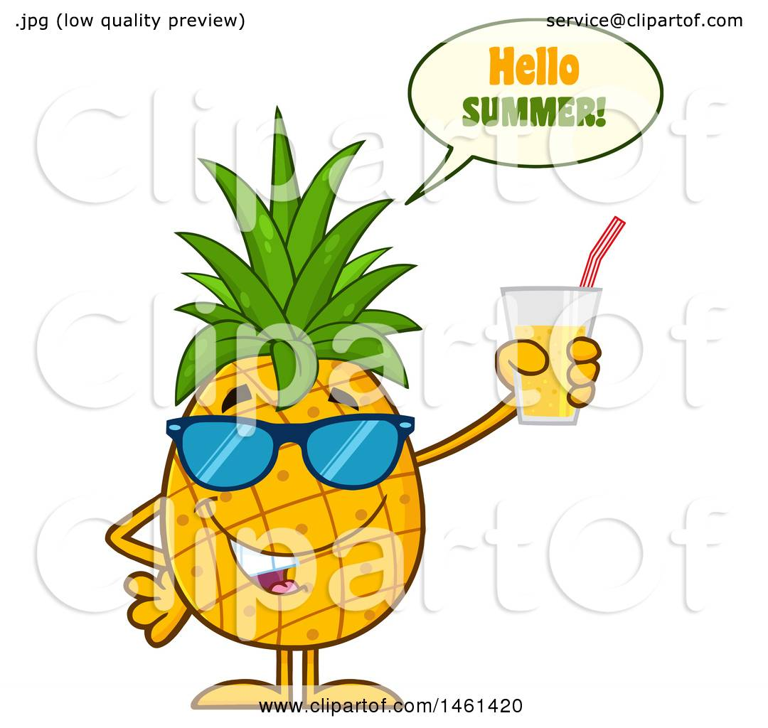 Clipart Of A Male Pineapple Mascot Character Wearing Sunglasses, Saying  Hello Summer And Holding Juice   Royalty Free Vector Illustration By Hit  Toon