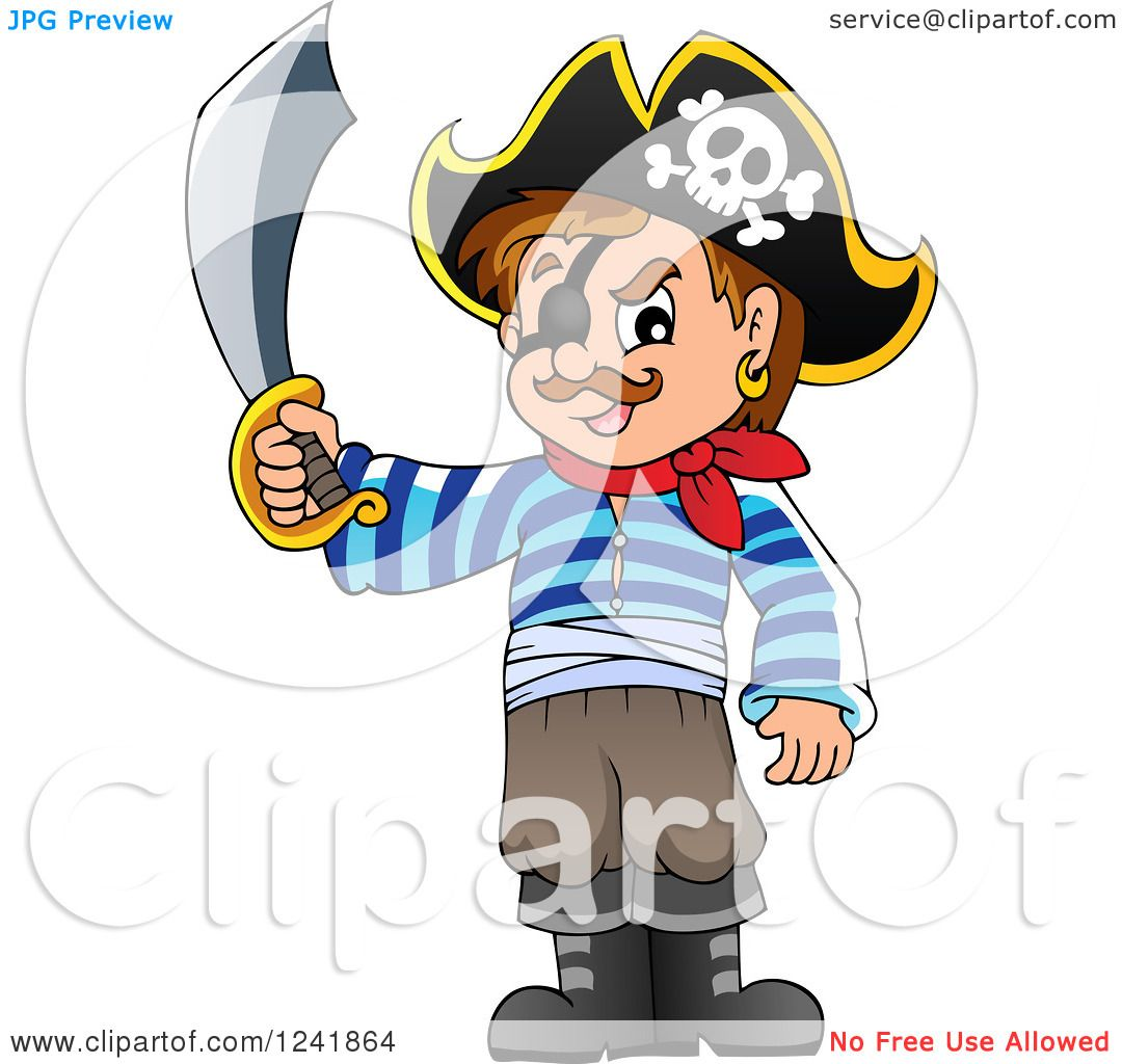clipart of a male pirate holding up a sword royalty free vector rh clipartof com Male Pirate deviantART Human Male Pirate Art